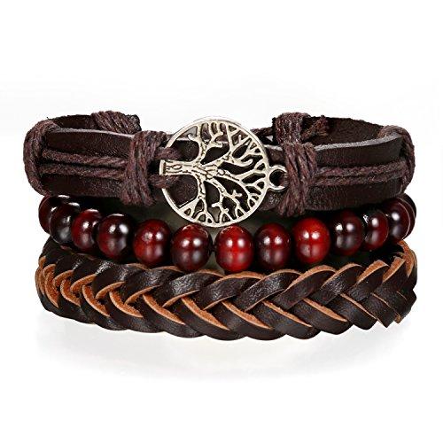 JewelryWe Schmuck 3 PCS Unisex Armband, Retro Baum des Lebens geflochten Lederarmband Holz Mala Armband Gebet Buddhistisch Tibetisch Gebetskette Armreif für Damen Herren