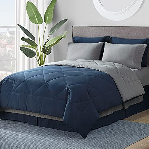 Bedsure Navy Comforter Set Queen - 8 Pieces Reversible Navy Bed in A...