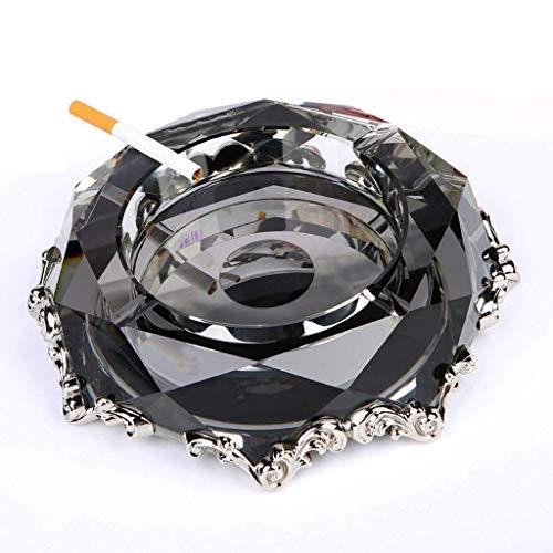 KEWEI Cenicero De Puros, Cenicero de Cristal cenicero de Metal Arte de la Manera de Regalo del salón (Color Plata, tamaño: 7.8x7.8x1.9 en), Tamaño: 7.8x7.8x1.9 en, Color: Morado