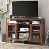 AMZOSS Modern Farmhouse Double Glass Door Stand for TVs up to 59 Inches, Traditional Rustic Wood TV Stand & Media Entertainment Center Console Table with Open Storage Shelves & Cabinets (Brown)