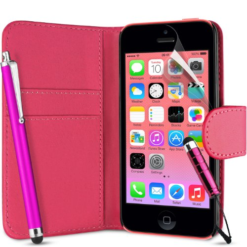 Supergets Flip Tasca PU Custodia A Portafoglio In Pelle Per Apple Iphone 5C / 5 C+ Proteggi Schermo , 2 x Stylus Touch Screen e Panno Lucidante - PORTAFOGLIO ROSA ACCESO
