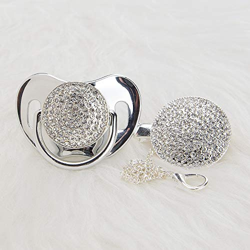 MIyocar all handmade bling baby silver pacifier and clip bling princess baby pacifier 11 colors can choose AS