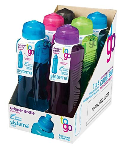 Sistema Lot de 6 bouteilles Hydrate Gripper - 800 ml - Couleurs assorties