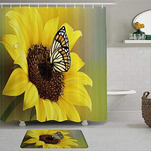 EricauBird Rustic Sunflowers Butterfly in Cuntry Floral Shower Curtain with Rings Polyester Fabric Shower Curtains with Hooks Bath Bathroom Decor