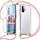 Pnakqil Funda con Cuerdapara Xiaomi Redmi Note 10 Pro 4G/Pro MAX +1x Película de Lentes Estuche para teléfono de Silicona TPU de 360 Grados con cordón Ajustable para Correa para el Cuello -Oro Rosa