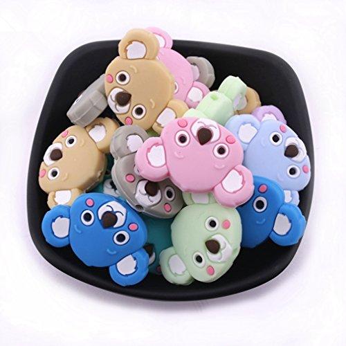 Mamimami Home B/éb/é Silicone Dentition Mix Couleur G/éom/étrique Koala Couronne Perles DIY Collier M/âcher Jouets de Dentition /à Fermoir