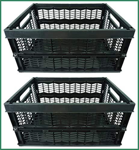 Novaliv Klappboxen faltbar stabil | 2X 30L Schwarz Schwarz Baskets Einkaufskiste| Klappkisten Set Tragebox Aufbewahrung Einkaufskörbe Körbe Aufbewahrung Küche