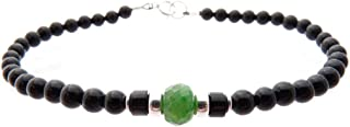 Mens Genuine Emerald May Birthstone Gemstone Beaded Bracelets, Husband Father Son Boyfriend Sterling Silver Gifts for Him, Jewels for Gents
