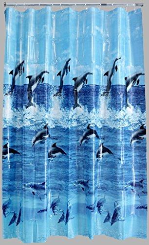 AQUALONA Wasserdichter Duschvorhang, Vinyl, Blau, 180 x 180 cm
