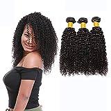 LVY extensiones de cabello natural 8A pelo natural humano cabello brasileño virgen pelo humano rizado 3 paquetes 20 22 24 pulgada 100% extensiones pelo natural