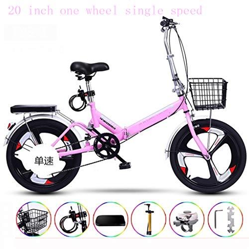 Ultralight Draagbare vouwfiets voor volwassenen met zichzelf installatie 20 inch één wiel vast toerental,Pink