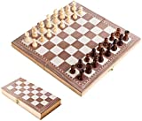 JAOK Wooden Chess Set, 30 x 30CM Portable Folding Chess Board, Game for Adults and Kids