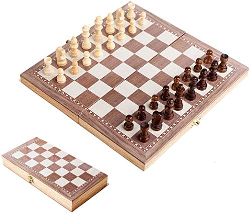 JAOK Wooden Chess Set 30 x 30CM Portable Folding Chess Board Game for Adults and Kids