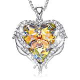 CDE Angel Wing Necklaces for Women Embellished with Crystals from Swarovski Pendant Necklace Heart Of Ocean Jewelry Gift for Woman (C_Yellow (Brass))