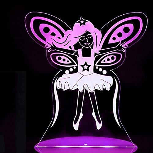 LZGPZXYD 3D LED 7 veranderende fee patroon nachtlamp slinger vlinder tafellamp lamp lamp voor slaapkamer USB decoratie geschenk Touch Switch