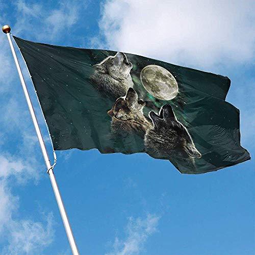 wallxxj Flagge Howling Wolf Vivid Yard Flagge 150X90Cm Garten Fahnen Bunte Standard Willkommen Im Freien Drucken Holiday Yard Banner