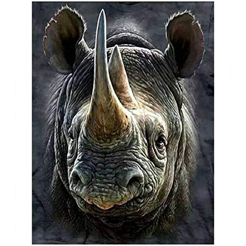 GBGMN new arrival 5d diy diamond painting rhinoceros picture for home decoration 3D full round diamond embroidery cross stitch-30x40cm