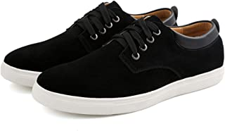 Men's Casual Suede Skate ShoesFront lace-up Shock bsorption Wear-resistant Fashion Business Leather Flat shoes