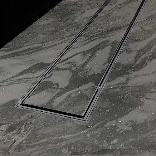Duschrinne Bodenablauf Ablaufrinne Duschablauf Edelstahl Boden Ablauf Rinne flach Set mit Siphon (50x7,6cm, Befliesbar)