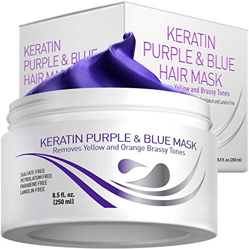 Vitamins Keratin Purple Hair Mask - Violet Blue Protein Deep Conditioner Treatment - Toner for Blonde Platinum Silver Gray Ash or Brown Colored Dry and Damaged Brassy Hair
