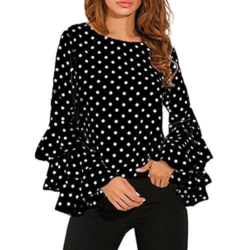 Goodsatar Moda De las mujeres Manga de campana Camisa suelta del lunar Señoras Casual Blusa Tops (M, Negro)