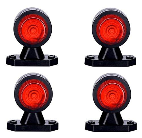Lot de 4 feux de position latéraux blancs et rouges 12 V 24 V avec marquage E pour voiture, camion, remorque, fourgonnette, ampoule universelle double fonction