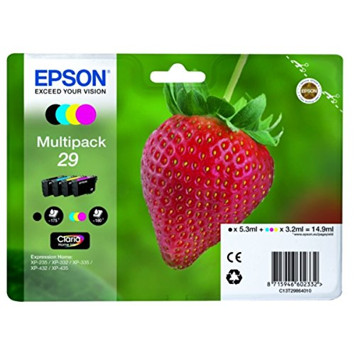 Epson original - Epson Expression Home XP-342 (29 / C13T29864022) - Tintenpatrone Multipack (schwarz, Cyan, Magenta, gelb)