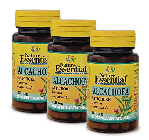 NATURE ESSENTIAL | Alcachofa 350 mg | Ayuda a Mejorar las Molestias Digestivas | Reduce la Glucosa en Sangre y Protege contra el Estreñimiento | Acción Antioxidante | 50 Cápsulas (Pack 3 unid.)