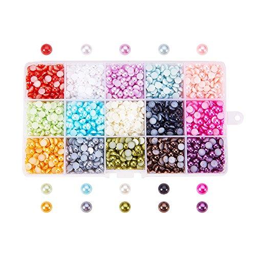 PH PandaHall 15 Colors 6mm Flat Back Pearl Cabochon 2700pcs Half Artificial Pearl Bead Flat Back Plastic Beads for Shoes Wedding Dress Craft DIY Phone Nail Art Making