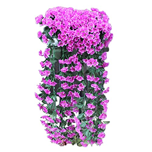 Ywbaw Hanging Flowers, Fake Flowers Artificial Violet Flower, Simulation Plant Vines, Suitable for Family Garden Wedding Party Holiday Flower Decoration, (Purple)