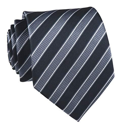 Elfeves Herren-Krawatte, modern, gestreift, gemustert -  Grau -  Einheitsgröße