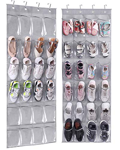 MISSLO Over The Door Hanging Shoe Organizer 24 Large Clear PVC Pockets Shoe Storage Hanging Shoe Holder, 2 Packs, Gray