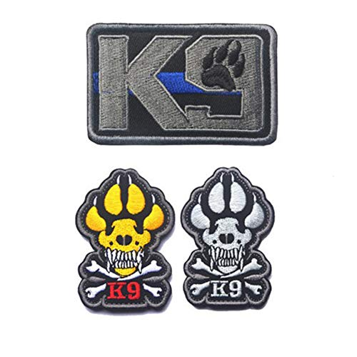 SOUTHYU 3 Pack K9 Service Dog Tactical Morale Patches Military Emblem Embroidered Badge, Fastener Hook & Loop Patch