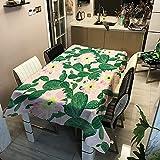 Cubierta de la Mesa de Comedor de Flores de Plantas, Tela de Cena Rectangular Impermeable, Cubierta de Mesa de Picnic, Mantel de decoración de Boda M-13 140x180cm