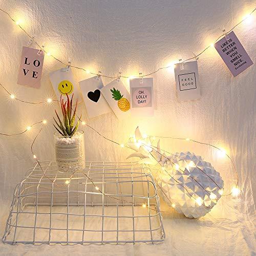 Adaskala 10M 100LED lámpara de Clip de Fotos 50 Clips USB LED Cadena de luz Marco de Fotos decoración para Sala de Estar Interior Dormitorio iluminación de Fiesta (baterías no Incluidas)