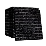 LEISIME 3D Wall Sticker Self-Adhesive Wall Panels Waterproof PE Foam White Wallpaper for Living Room TV Wall and Home Decor (Black Brick 10Pack - 58 Sq Ft)