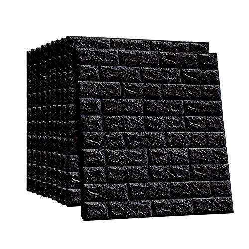 LEISIME 3D-Wandpaneele Selbstklebend PE Schaum Wandtapete Steinoptik schwarz Fototapete Wandaufkleber Schlafzimmer Wohnzimmer Deko Backstein 10 Streifen 58 Quadratfuß