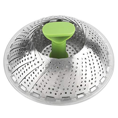 Cesta de vaporera de verduras, cesta de vaporera de acero inoxidable, inserto de vaporera plegable para cocinar pescado y marisco, se adapta a ollas de varios tamaños, expandible de 7.1 a 11 p