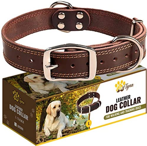 Leather Dog Collar for Large Dogs Heavy Duty Wide Dog Collars with Durable Metal Hardware Double product image