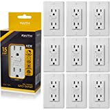 Faith [10-Pack] 15A GFCI Outlets Slim, Non-Tamper-Resistant GFI Duplex Receptacles with LED Indicator, Self-Test Ground Fault Circuit Interrupter with Wall Plate, ETL Listed, White, 10 Piece