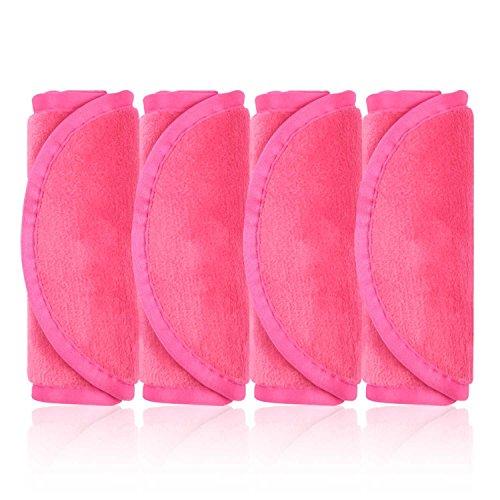 Make-Up Entferner Tuch, 4er Set Abschminktücher, Abschminken und Reinigen nur mit Wasser ohne Chemie - hypoallergen & waschbar & wiederverwendbar mikrofaser abschminktücher (Rosenrot)