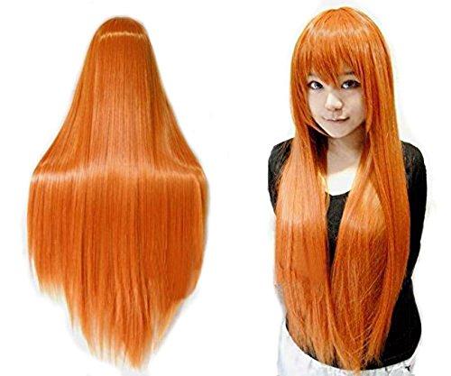 ANOGOL Vocaloid 80cm Orange Wigs Long Straight Wigs Lolita Orange Cosplay Wig Hair Wigs