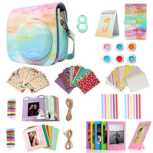Homesuit 14-in-1-Zubehörset für Fujifilm Instax Mini 9/8/8 + Gehäuse/Album/Selfie-Objektiv/Filter/Filmrahmen/Wandbehangrahmen/Randaufkleber/Eckaufkleber/Filmkalender (Rainbow)