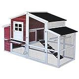 Pollaio XXL con più spazio esterno e di rifugio in abete con tetto...