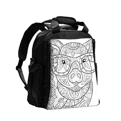 Wickeltasche Rucksack mit Wickelauflage Malvorlagen für Erwachsene Pig Style Art Rucksack Wickeltaschen für Frauen Multifunktions-Reiserucksack mit Wickelunterlage für Babypflege