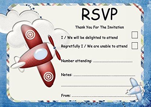 Vliegtuig blauw rood vliegtuig gepersonaliseerde bruiloft of partij RSVP kaarten 200 RSVP Cards Blauw/Rood