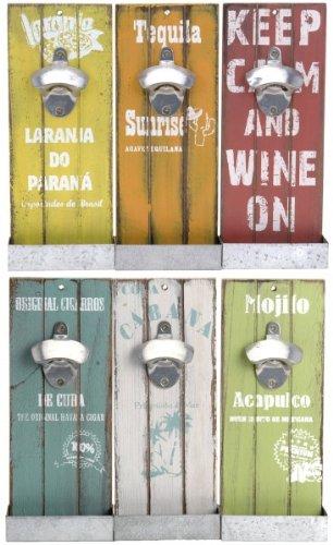 Quantio Wandflaschenöffner mit Auffangbehälter - Antik Look - Flaschenöffner - Bieröffner - Öffner - Männergeschenk - Kapselheber, Farbe:Grün