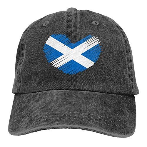 wwoman Baseball Cap für Männer Frauen, Schottland Flagge in Herzform Unisex Baumwolle verstellbare Jeans Cap Hut
