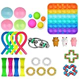 24 Pcs Fidget Toy Set, Cheap Sensory Fidget Toys Pack for Kids or Adults, Figetget Toys Pack Figit Toys, Fidget Box with Marble Mesh Stress Ball &More (Square Pop-Its Simple Dimple)