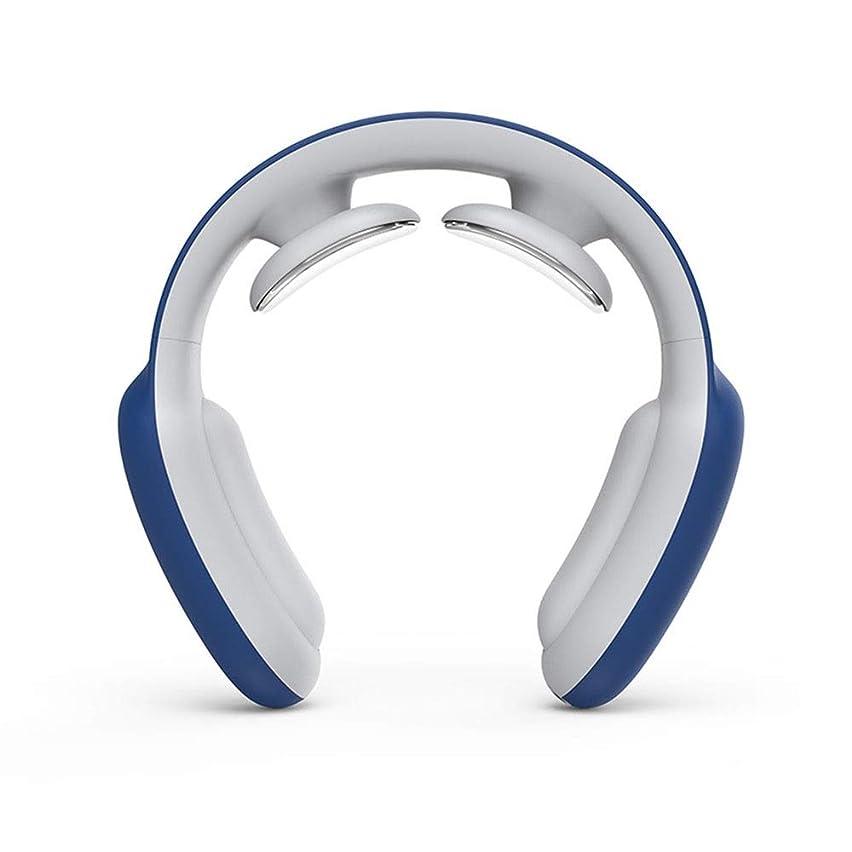 計算する手入れ浴室電気パルス頸椎治療装置、インテリジェントリモートコントロール頸椎マッサージ装置、加熱機能付き (Color : Blue)